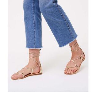 LOFT Gold Metallic Lace Up Sandals